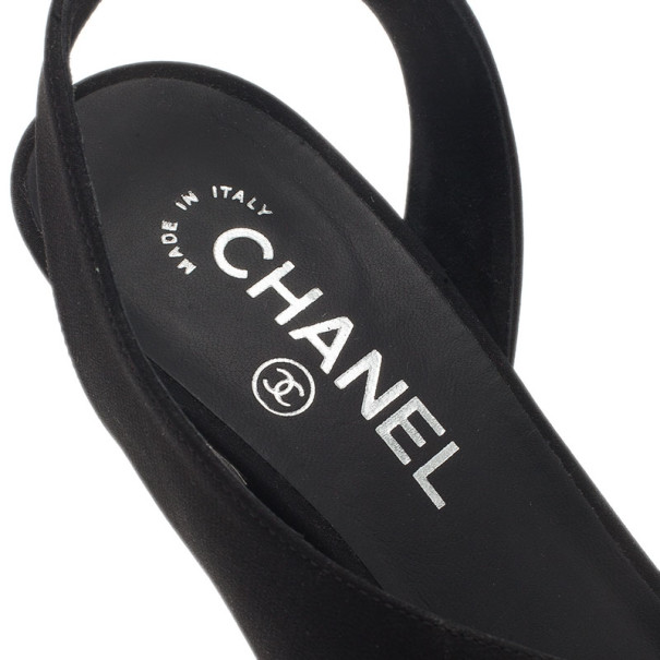Chanel Black Crepe Slingback Sandals Size 39
