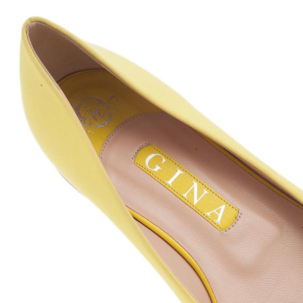 Gina Yellow Satin Felicity Ballet Flats Size 39.5