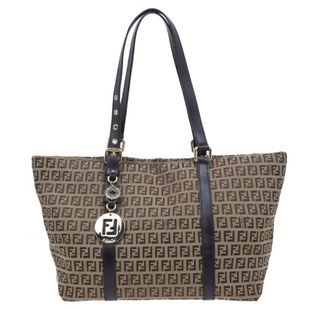 Fendi Brown Zucchino Canvas Charm Detail Large Tote