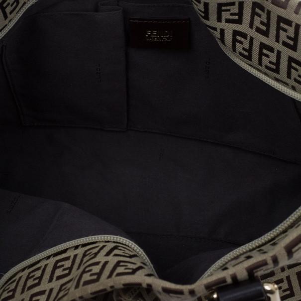 Fendi Brown Zucchino Canvas Charm Detail Large Tote