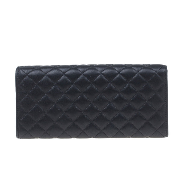Carolina Herrera Black Quilted Leather Continental Wallet