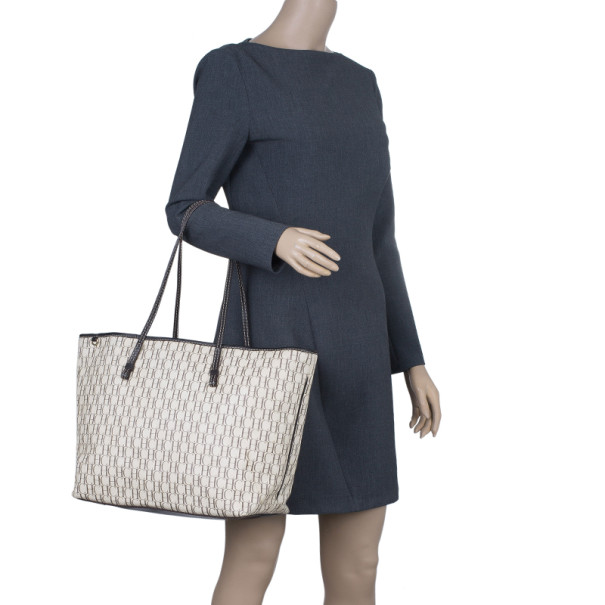 Carolina Herrera Monogram Canvas Shopper Tote