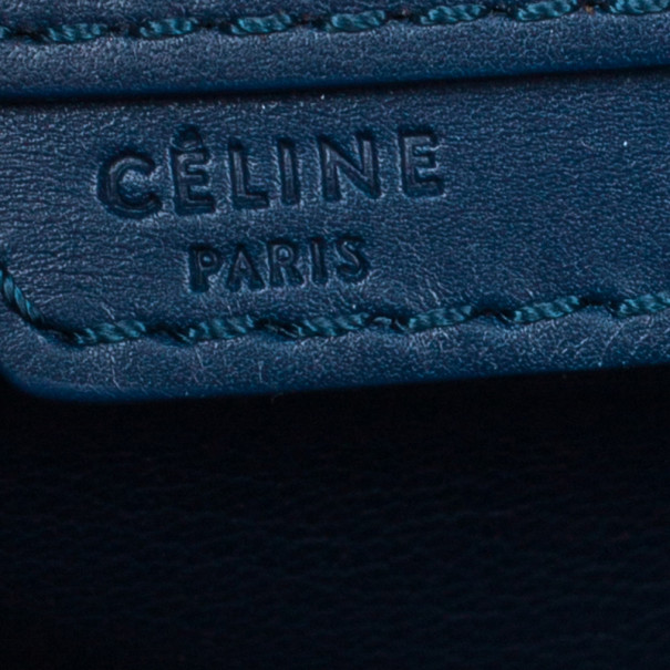 Celine Navy Blue Leather Mini Luggage Tote