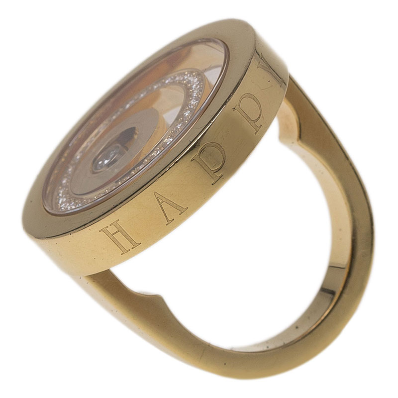 Chopard Happy Spirit Diamond Yellow Gold Ring Size 53