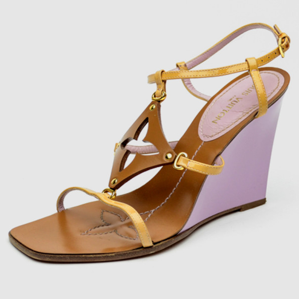 760d643ae497 Louis Vuitton Brown Capricieuse Wedge Sandals Size 37.5 - Buy   Sell - LC