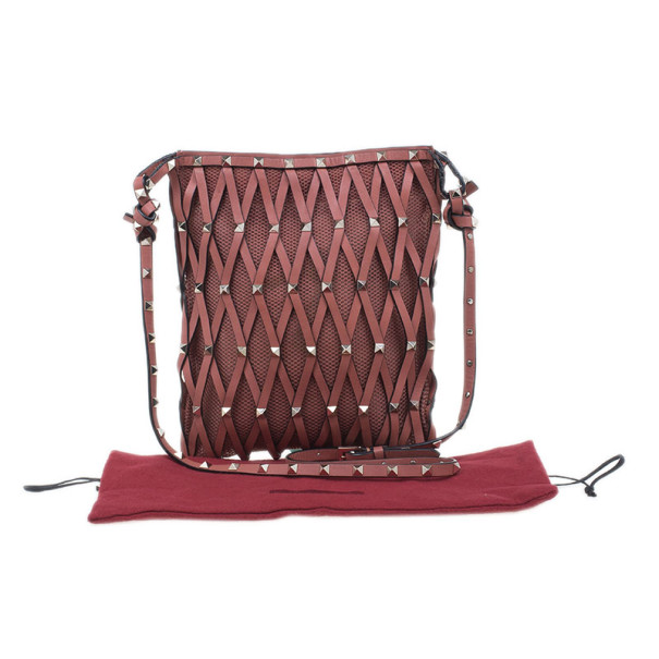 Valentino Pink Leather Rockstud Netted Cross Body Bag