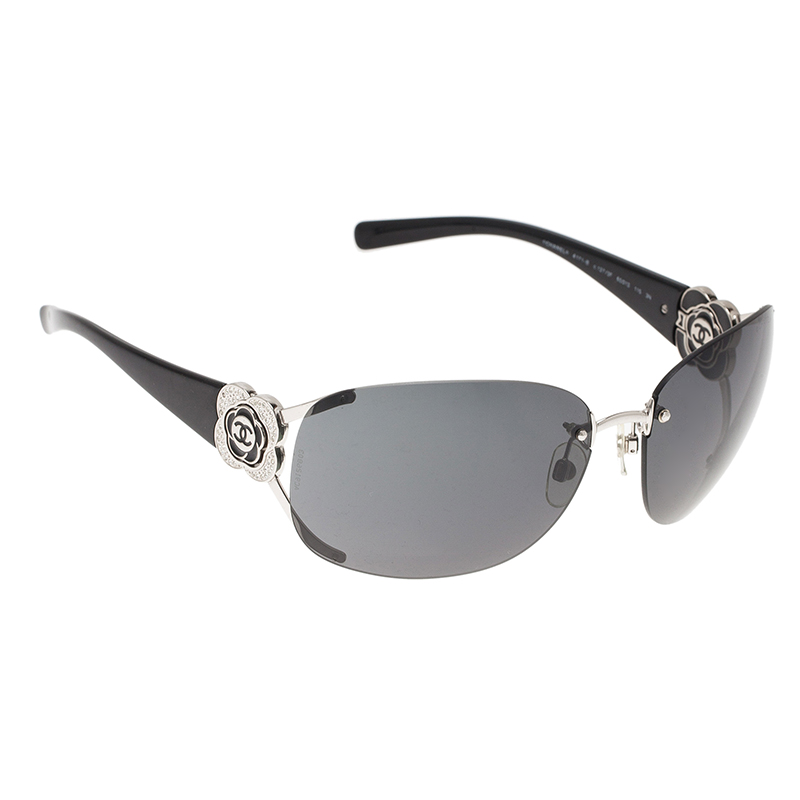 Chanel Black Camellia 4171 Rimless Shield Sunglasses