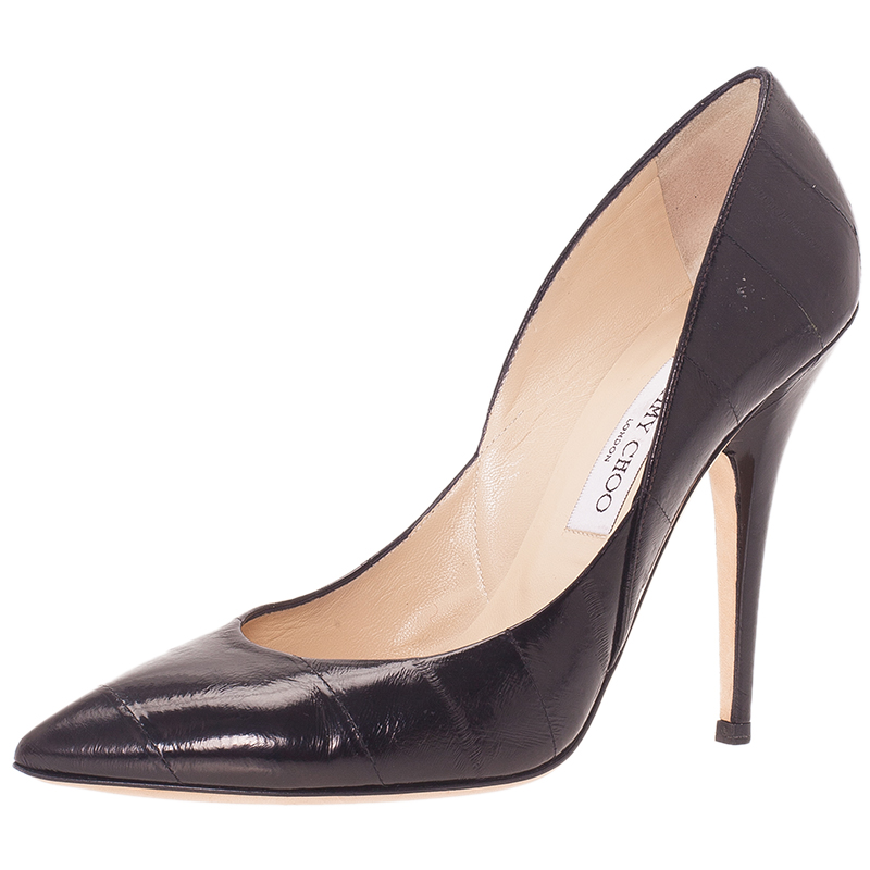 Jimmy Choo Black Eel Aurora Pumps Size 39