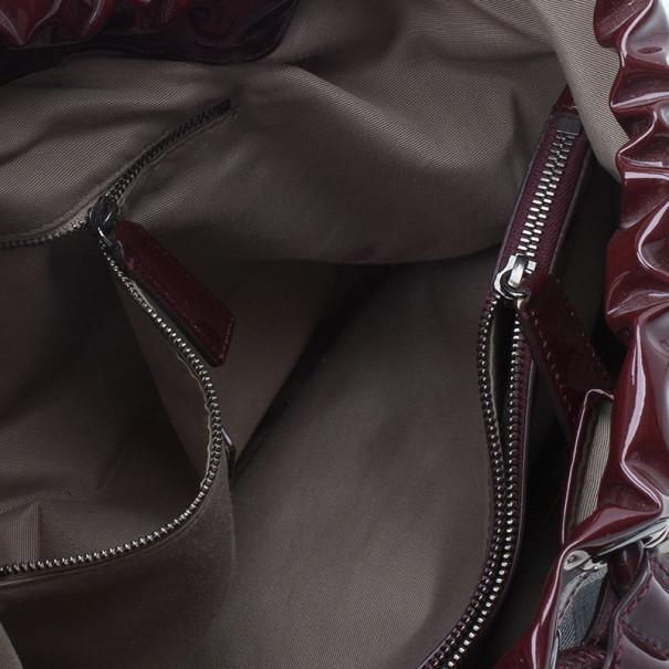 Burberry Maroon Patent Nova Check Drawstring Hobo