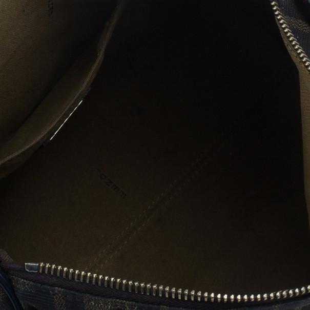 Fendi Navy Blue Canvas Medium Zucca Boston Bag