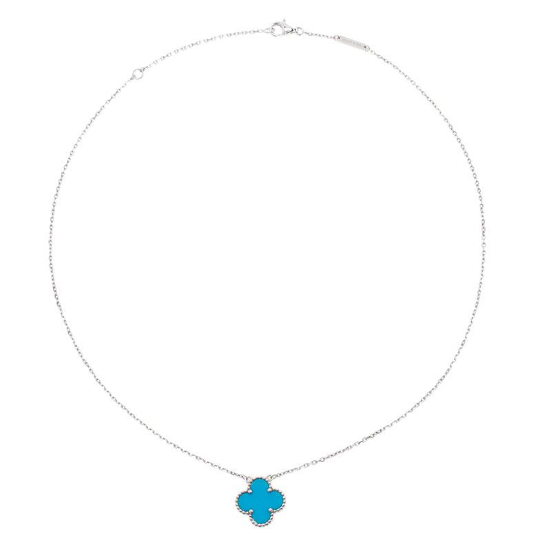 Van Cleef & Arpels Vintage Alhambra Turquoise White Gold Pendant Necklace
