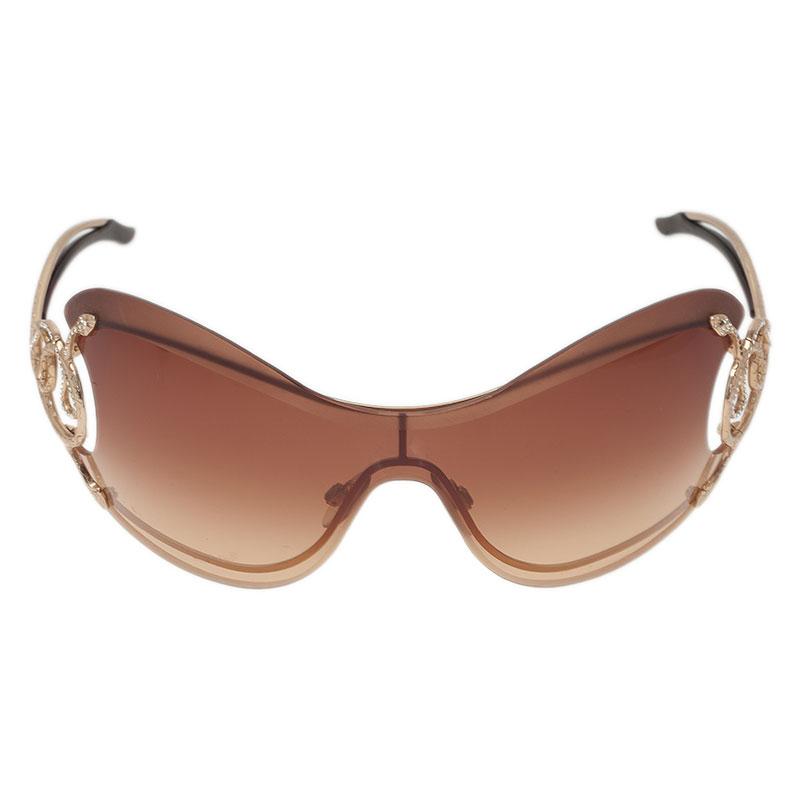 Roberto Cavalli Brown Cicno Serpent Shield Sunglasses