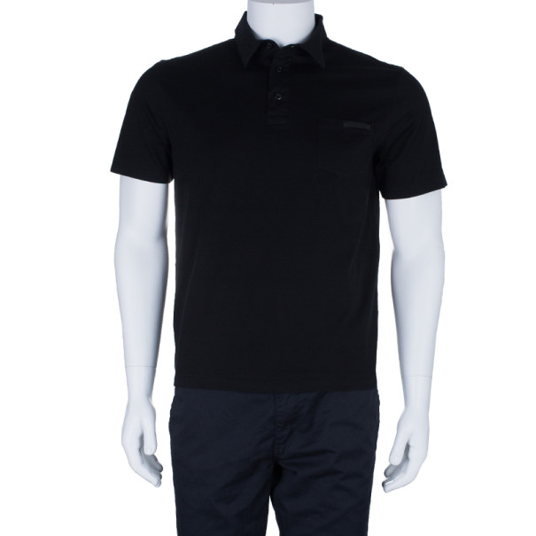 Prada Men's Black Cotton Polo Shirt L