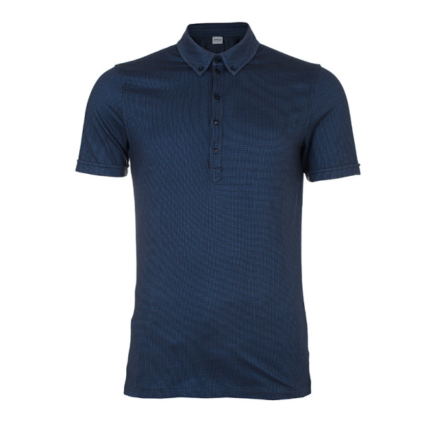 Armani Collezioni Men's Blue Black Cotton Pique Polo Shirt XXL