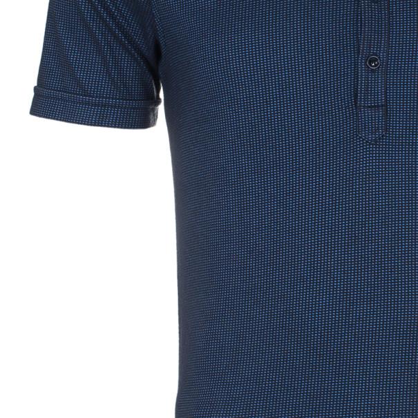 Armani Collezioni Men's Blue Black Cotton Pique Polo Shirt XXL