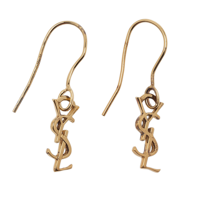 Saint Laurent Paris Signature Monogram Gold Vermeil Hook Earrings