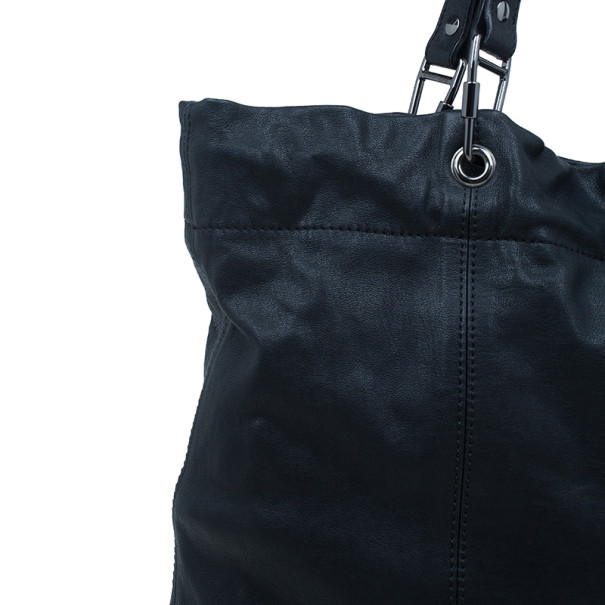 Burberry Black Leather Drawstring Tote