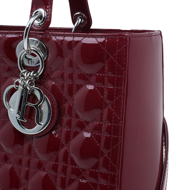 Dior Red Patent Large Lady Dior Bag