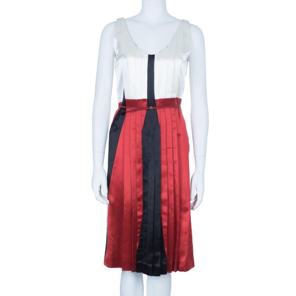 Miu Miu Satin Pleated Colorblock Belted Dress S