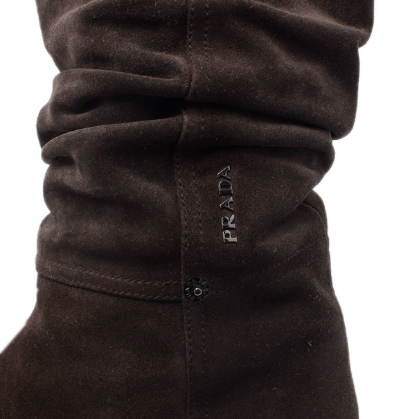 Prada Sport Brown Suede Mid Calf Flat Boots Size 37