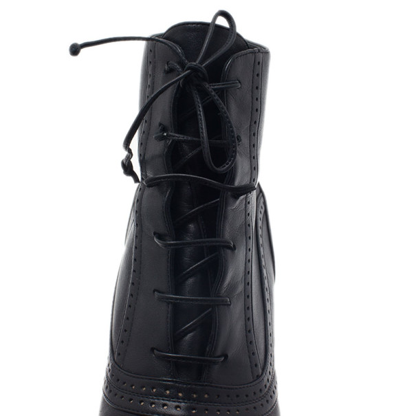 Bottega Veneta Black Leather Lace Up Ankle Boots Size 38.5