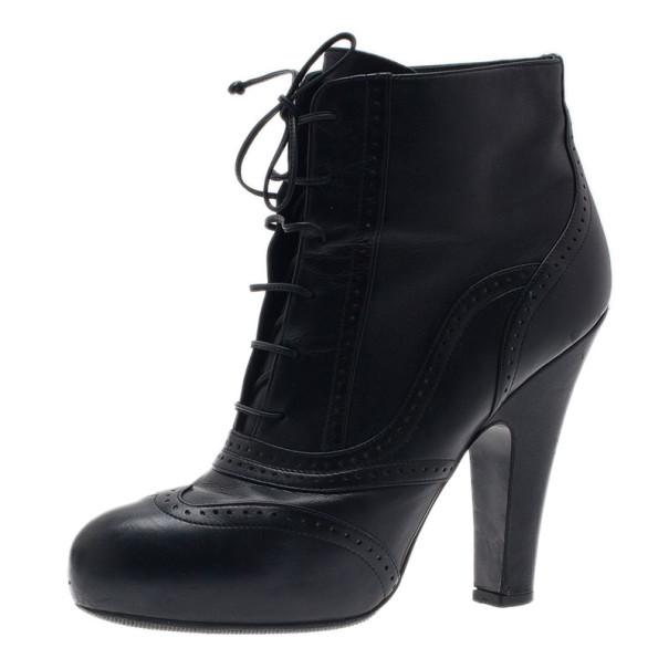 Bottega Veneta Black Leather Lace Up Ankle Boots Size 38.5
