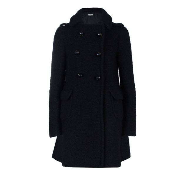 Prada Black Double Breasted Long Wool Coat S