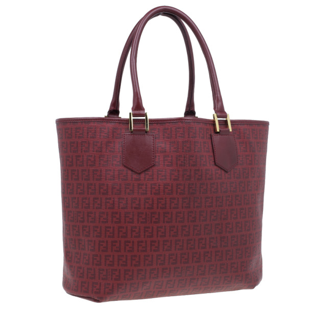 Fendi Red Zucchino Spalmati Drawstring Top Tote