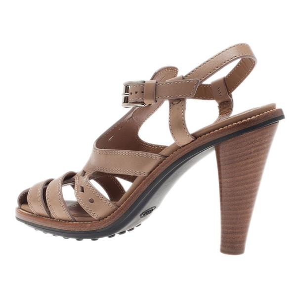 Tod's Beige Leather Strappy T Strap Sandals Size 37