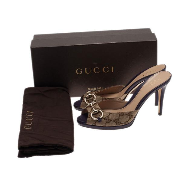 Gucci GG Canvas New Hollywood Horsebit Slides Size 37.5