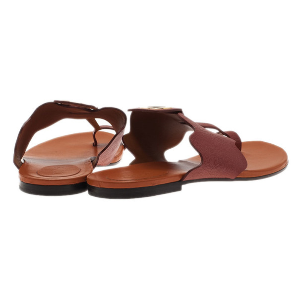 Chloe Brown Leather Toe Ring Sandals Size 37