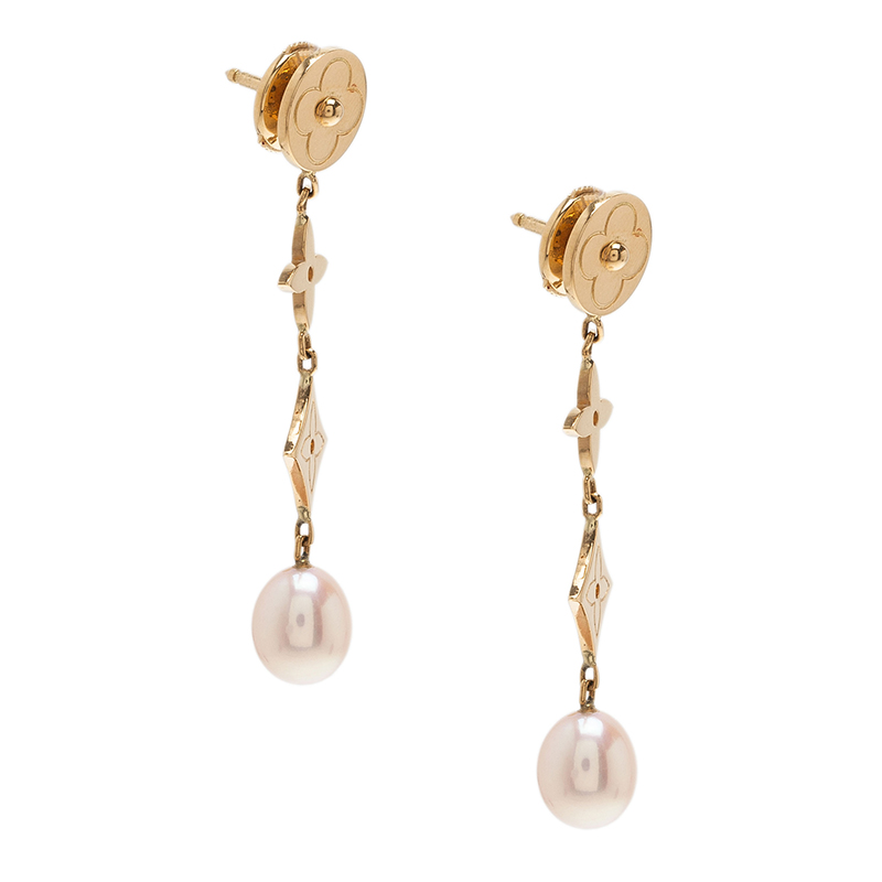 Louis Vuitton Pearl Monogram Earrings 18K Yellow Gold