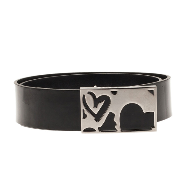 Burberry Black Leather Heart Buckle Belt 80CM