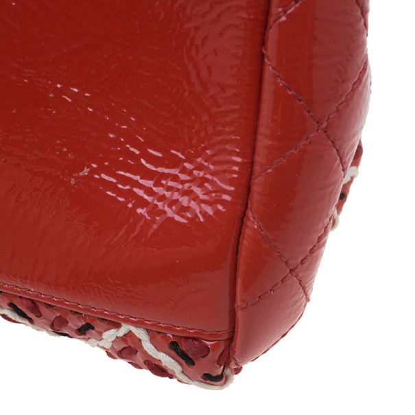 Chanel Red & Black Patent Mademoiselle Bowling Bag