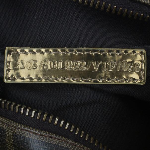 Fendi Zucca Leather Gold Palazzo Print Boston