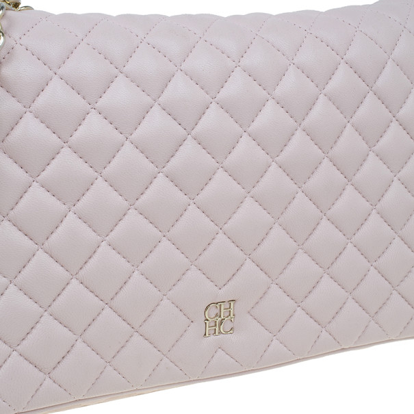 Carolina Herrera Pink Quilted Leather Flap Bag