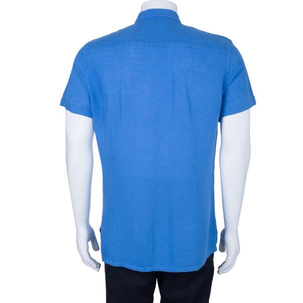 Armani Collezioni Men's Blue Linen Short Sleeve Shirt L