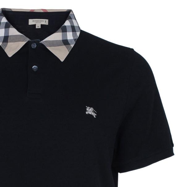 Burberry Men's Black Novacheck Collar Polo Shirt XL