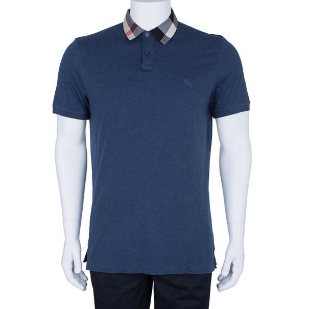 Burberry Men's Blue Novacheck Collar Polo Shirt XL