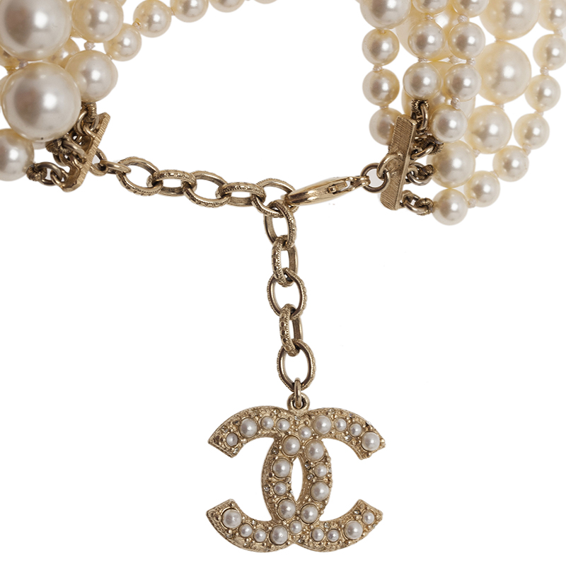 Chanel CC Multi Strand Faux Pearl Bracelet