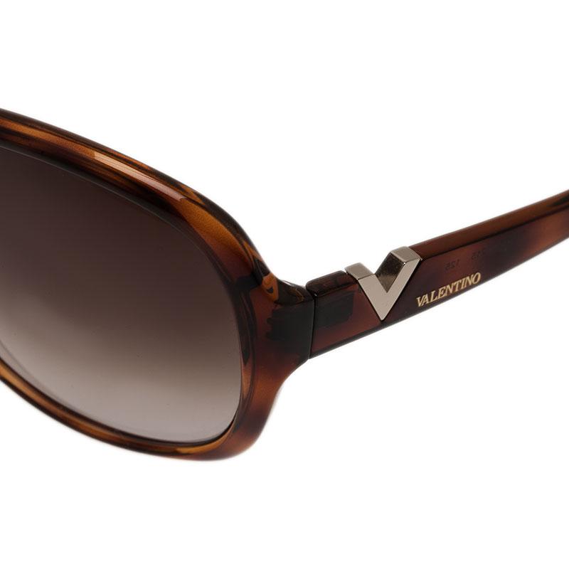 Valentino Brown V612S Round Sunglasses