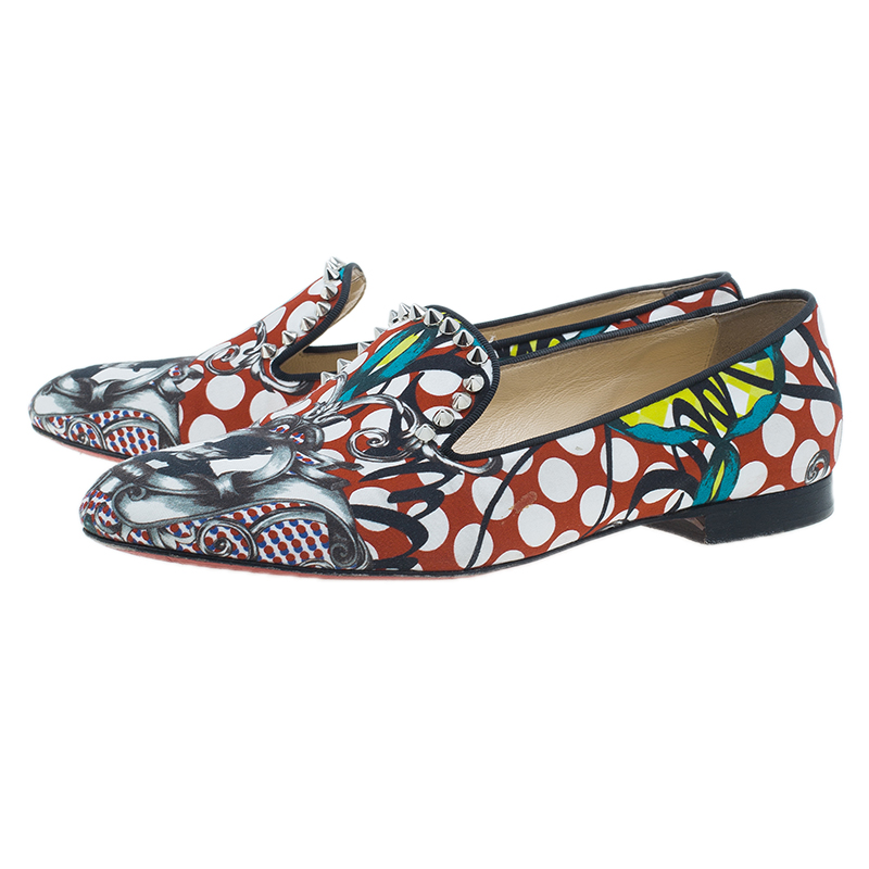 Christian Louboutin Multicolor Fabric Sakouette Face Polka Dot Loafers Size 39