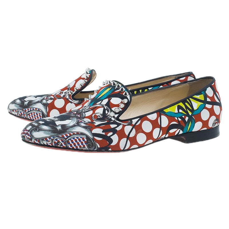 Christian Louboutin Multicolor Fabric Sakouette Face Polka Dot Loafers Size 39