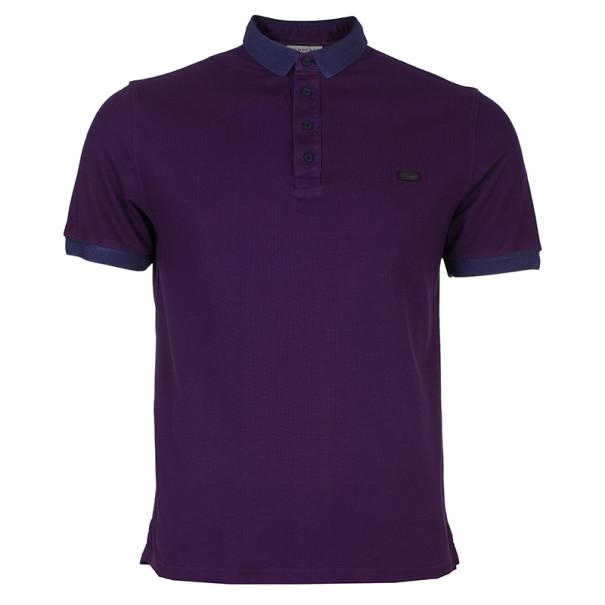 Burberry Men's Purple Cotton Pique Polo Shirt L