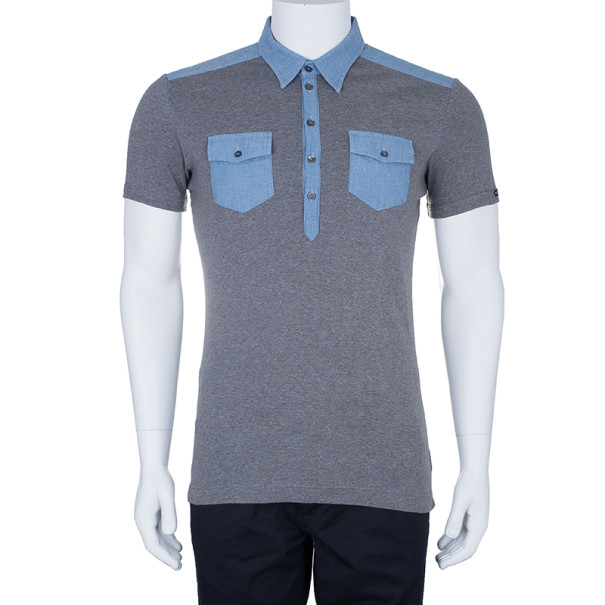 Dolce and Gabbana Men's Grey Light Denim Contrast Collar Polo Shirt XL