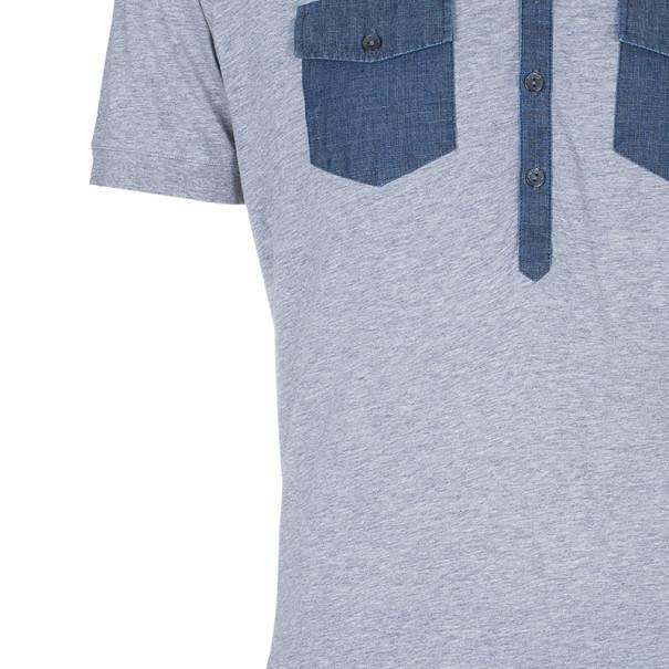 Dolce and Gabbana Men's Grey Dark Denim Contrast Polo Shirt XXL