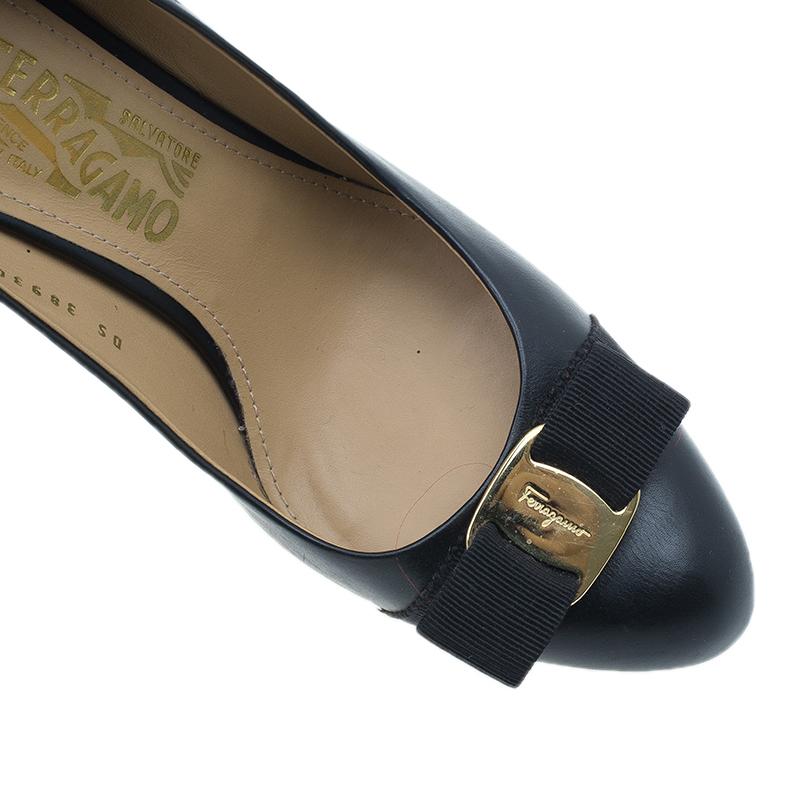 Salvatore Ferragamo Black Leather Rilly Pumps Size 42
