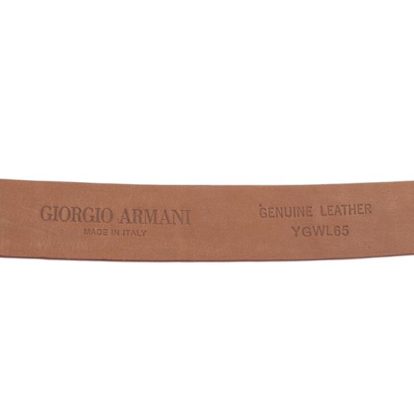 Giorgio Armani Orange Croc Embossed Enamel Logo Belt Size 46