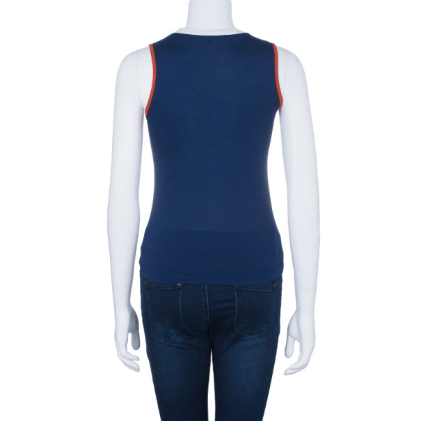 Gucci Navy Contrast Trim Sleeveless Top XS