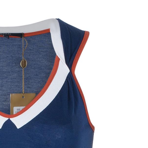 Gucci Navy Contrast Trim Sleeveless Top XS